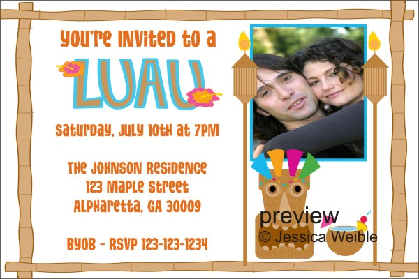 luau party photo invitation