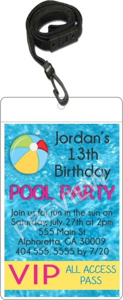Pool Party VIP Pass invitation