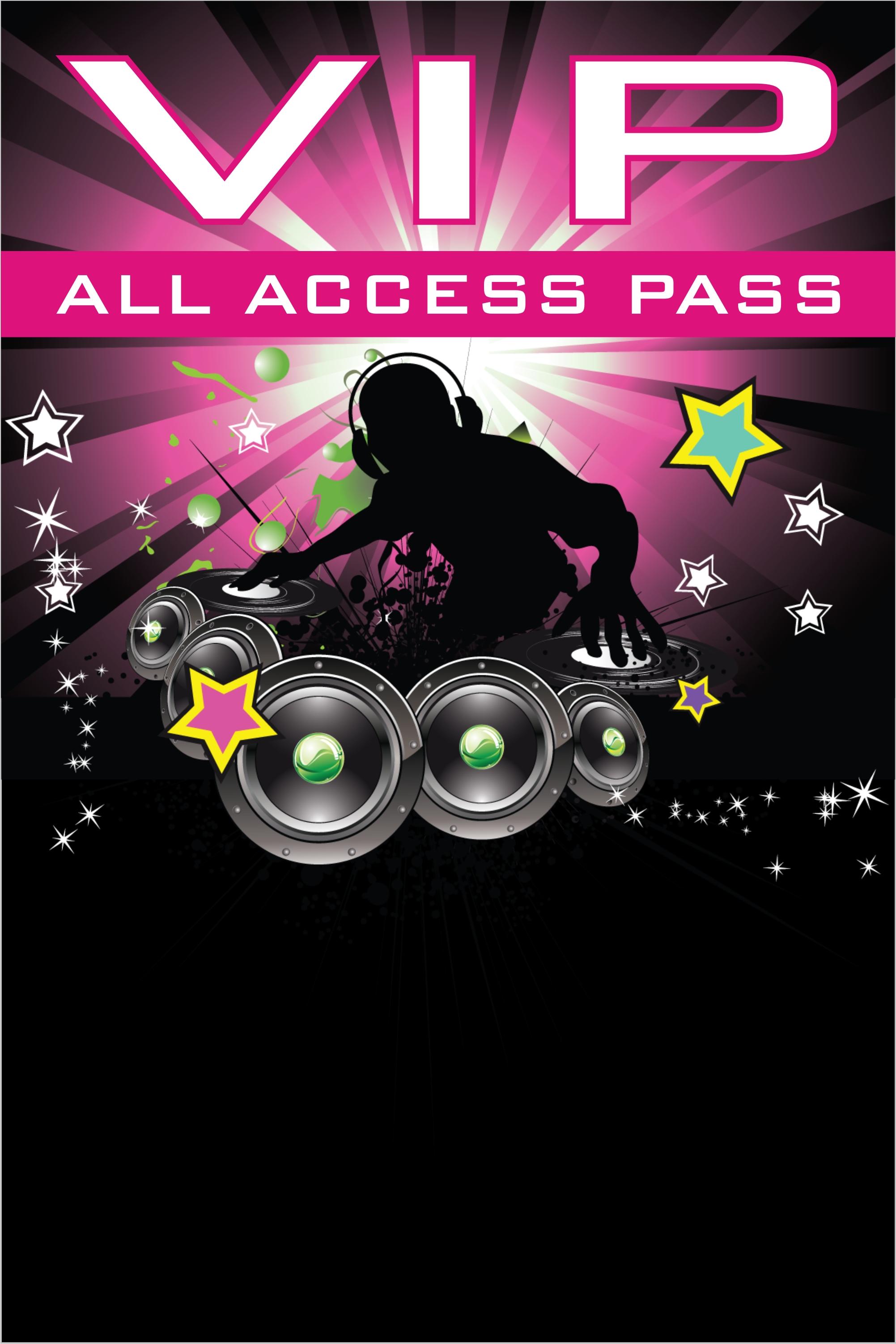 Nightclub DJ Dance Party VIP Pass Invitation w Lanyard ...