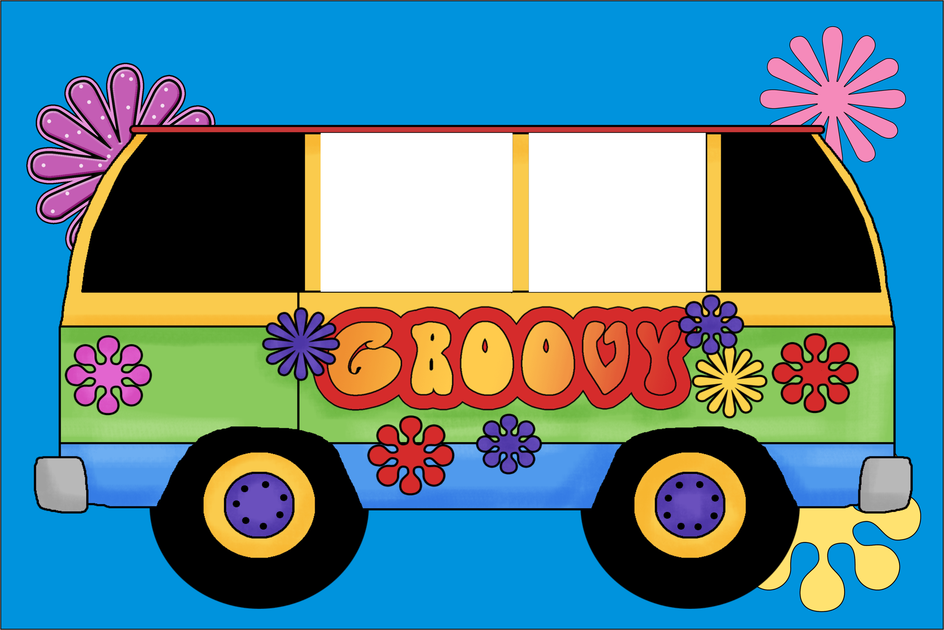 60s Retro Groovy Bus Photo Party Invitation Personalized ...