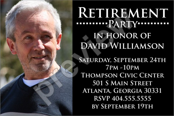 retirement party photo invitation