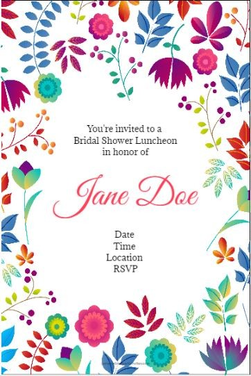 Spring floral party invitation template