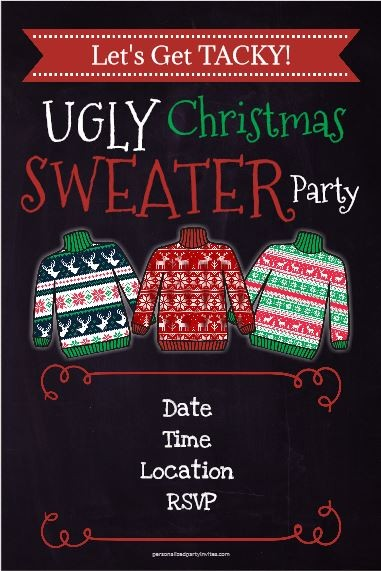 Ugly Christmas Sweater Party Invitation Chalkboard Style Click To Personalize