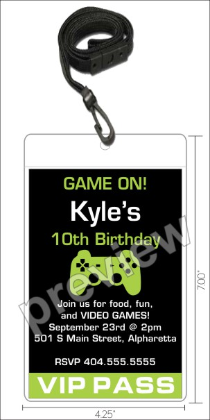 personalized party invites news - video game vip pass birthday, Party invitations