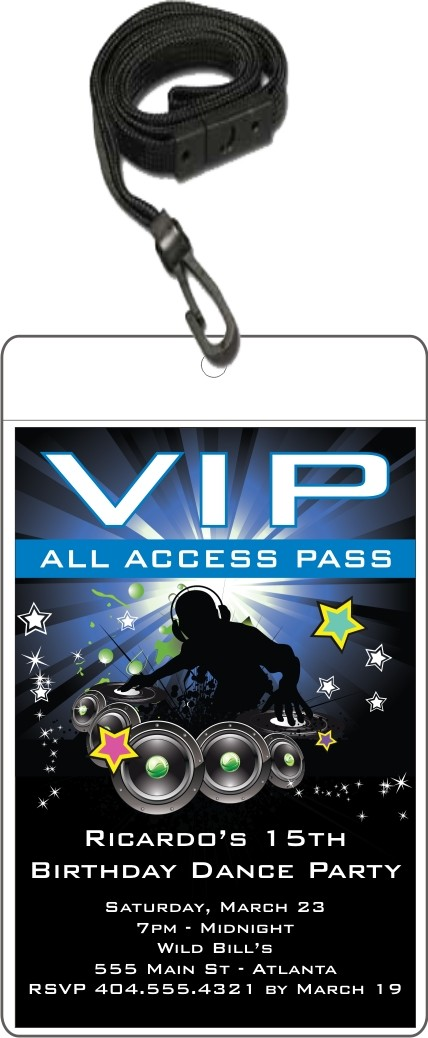 VIP Badge Pass Party Invitation