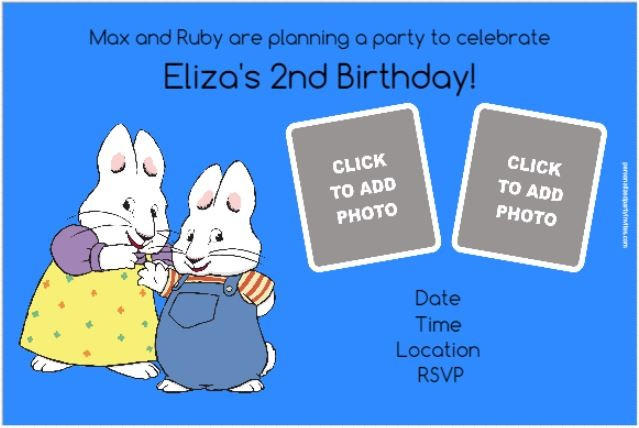 Max and Ruby Photo Invitations (Choose a Background Color)