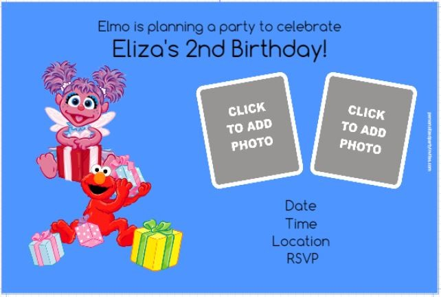 Elmo or Abby Cadabby Photo Invitation - ALL COLORS