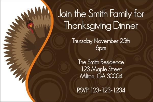 Gobble Gobble Turkey Thanksgiving Dinner Invitation