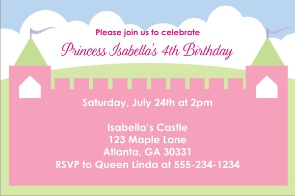 Princess Fairy Castle Invitations 2