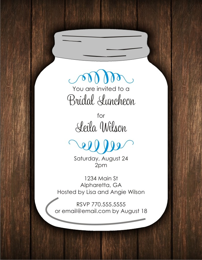 Mason Jar Die Cut Bridal Birthday Party Invitation