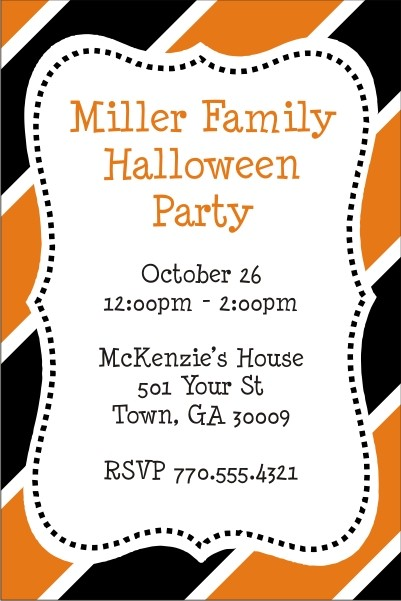 Hallween Stripes Party Invitation
