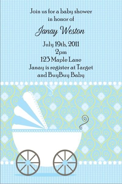 Cute Stroller Baby Shower Invitation - Blue