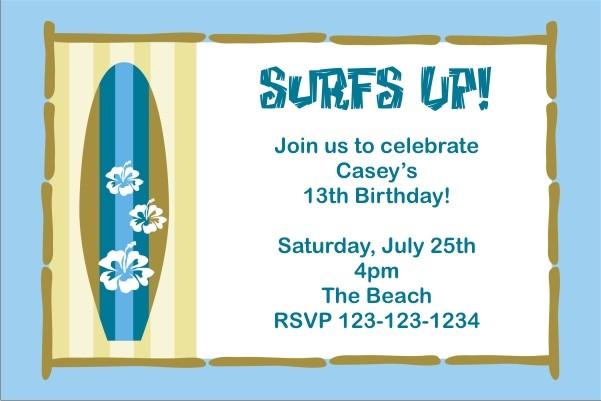 Surf Board Invitation