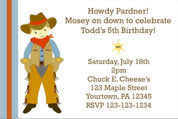 Cowboy Birthday Invitation (Customizable Cowboy)