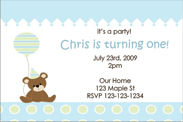 Teddy Bear with Balloon Invitation 2