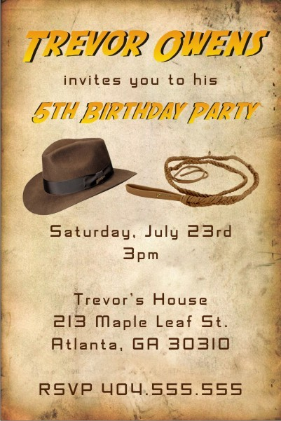 Indiana Jones inspired Invitation