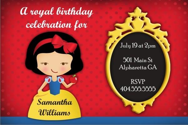 Snow White Personalized Birthday Party Invitation