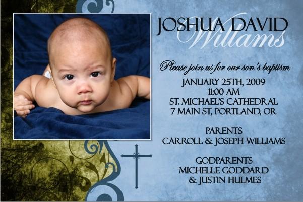 Communion / Baptism Photo Invitation 4 - Blue