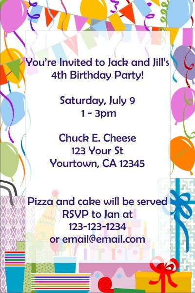 Birthday Party Invitations (Balloon Border)