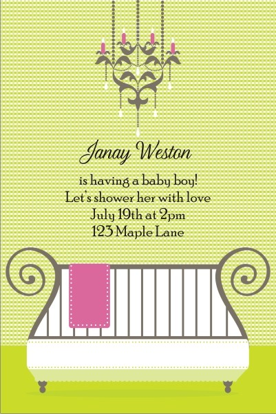 Cute Crib Baby Shower Invitation - Green