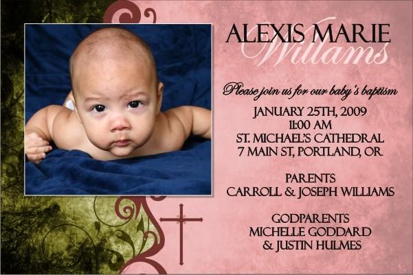 Communion / Baptism Photo Invitation 4 - Pink