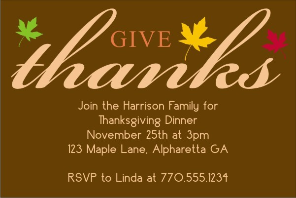 Give Thanks Thanksgiving Card Invitation