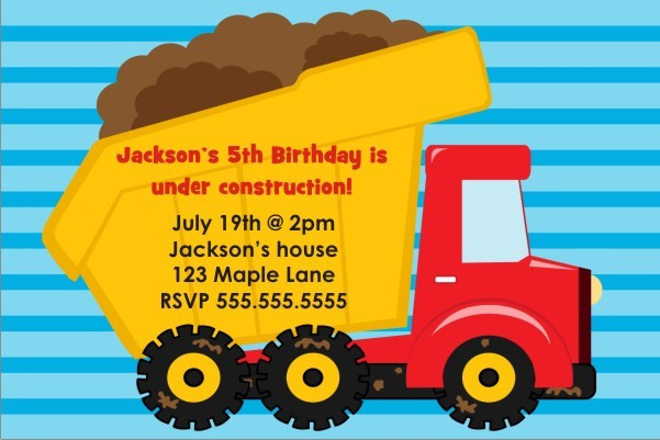 Dump Truck Construction Invitation