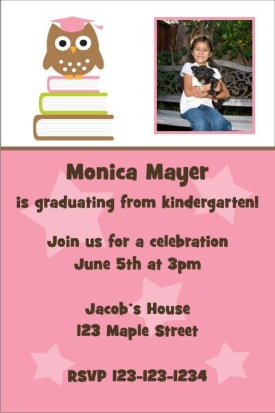 Owl Graduation Photo Invitation - Pink