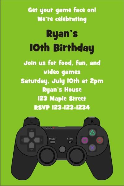 Playstation Xbox Video Game Invitation