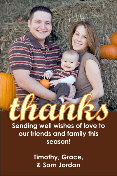 Thankful Script Thanksgiving Photo Card