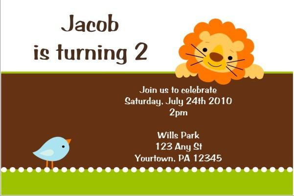 Lion and Birdie Invitation