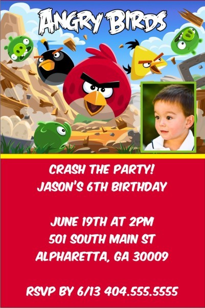 Angry Birds Party Invitation with Optional Photo