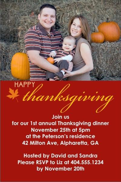 Happy Thanksgiving Photo Card Invitation