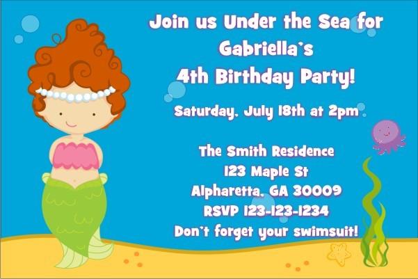 Mermaid Birthday Invitation (Customizable Mermaid)