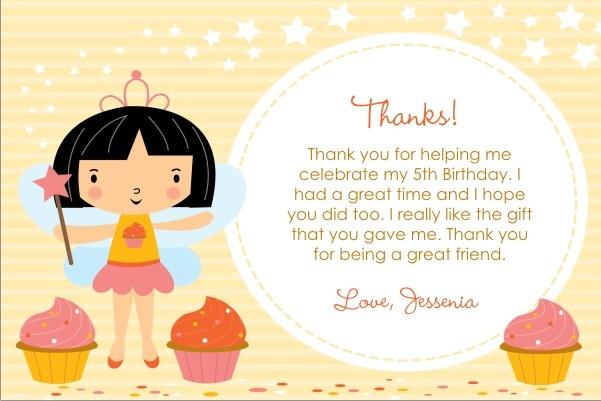Cupcake Fairy Princess Thank You Card - Circle Fun