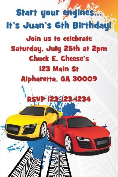 Race Car Invitation 2