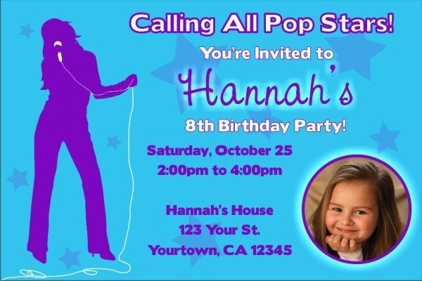 Pop Star Diva Photo Invitations