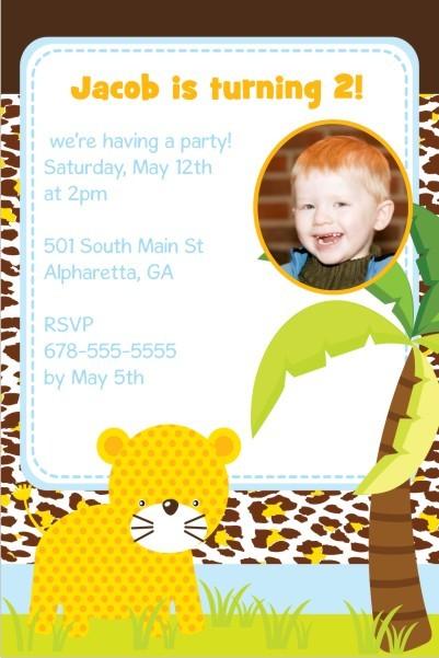 Jungle Fun Photo Invitation  - Leopard