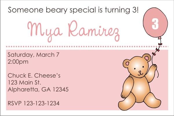 Teddy Bear with Pink Balloon Invitation