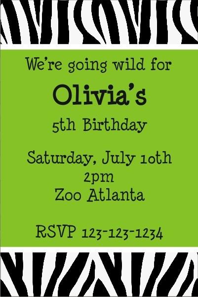 Zebra Animal Print Invitation 2 (ALL COLORS)