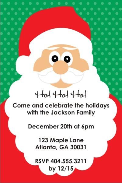 Ho Ho Ho Santa Holiday Christmas Party Invitation