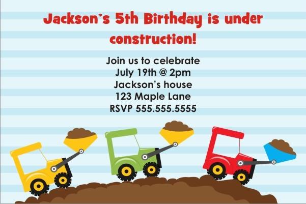 Dump Truck Construction Invitation - Triple