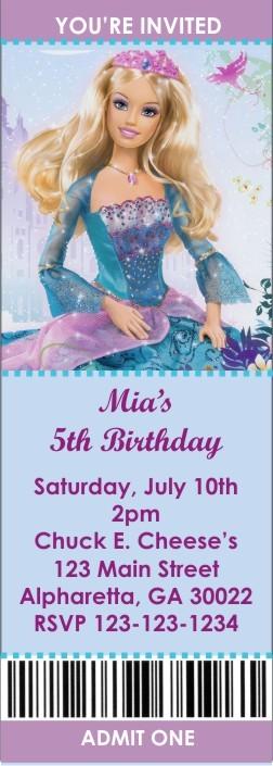Barbie Princess Ticket Style Invitations (2.5x7)