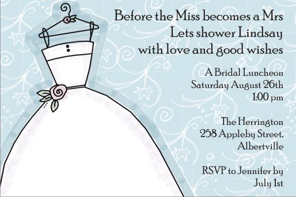 Bridal Shower Invitation blue background
