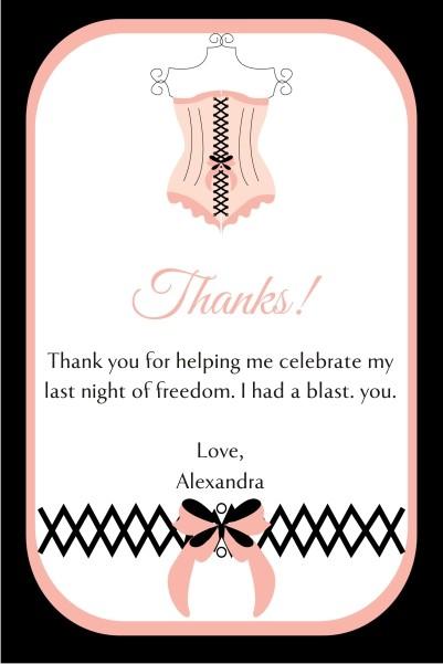 Lingerie Bridal Shower Bachelorette Party Thank You Card 2