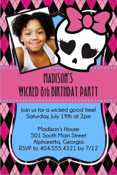 Monster High Photo Invitation