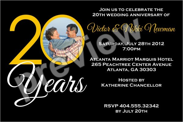 20 Years 20th Wedding Anniversary Photo Invitation