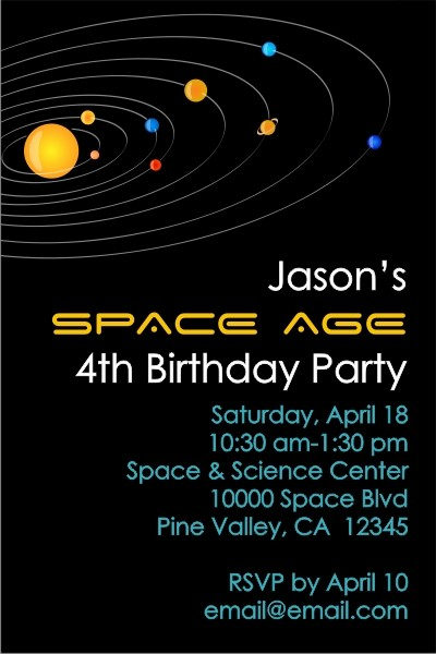 Solar System Outer Space Invitation