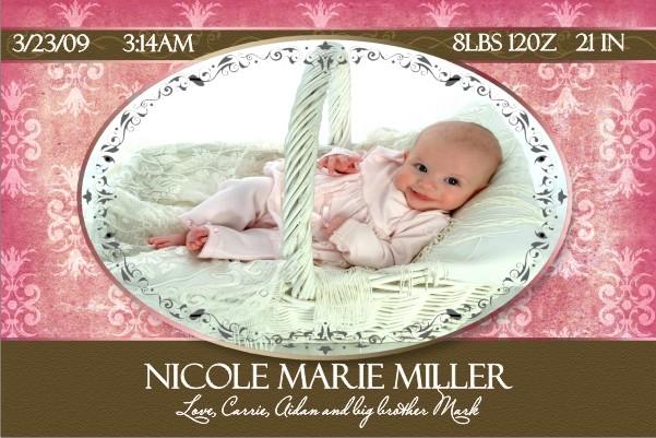 Newborn Baby Birth Announcement 4 (pink)