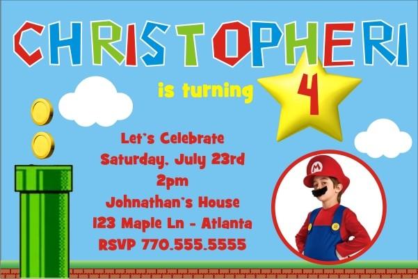 Super Mario Inspired Photo Invitation